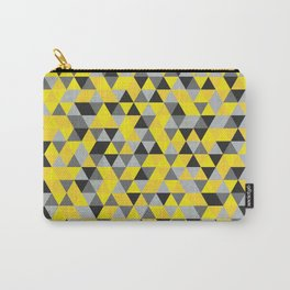 Sunny Yellow and Grey / Gray - Hipster Geometric Triangle Pattern Carry-All Pouch