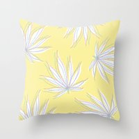 weed Throw Pillows featuring weed by Estelle F