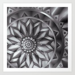 Black and White Minimalist Mandala Design Art Print