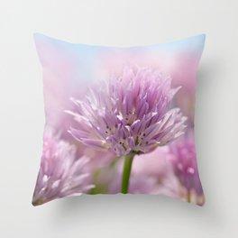Allium pink macro 303 Throw Pillow
