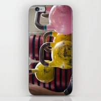 crossfit iPhone & iPod Skins featuring Kettlebell Pick Up by StirlingStudio