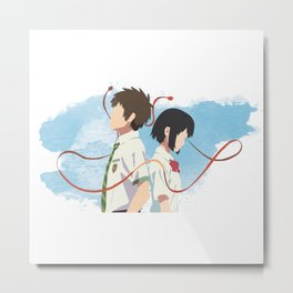 Your Name Minimalist (Taki and Mitsuha) Metal Print