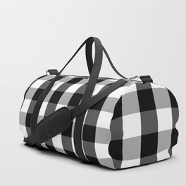 Large Black White Gingham Checked Square Pattern Duffle Bag