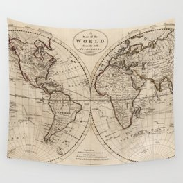 Old Fashioned World Map (1795) Wall Tapestry