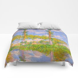 Claude Monet Impressionist Landscape Oil Painting Poplars in the Sun Comforters
