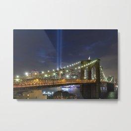 Sept 11 Memorial Lights - Brooklyn Bridge Metal Print