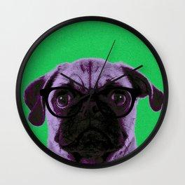 Geek Pug in Green Background Wall Clock