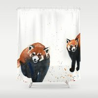 pandas Shower Curtains featuring Red Pandas by Priscilla George