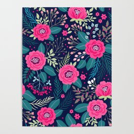 Floral pattern. Bright beautiful roses on a blue background. Poster
