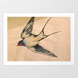 Watercolour Bird Art Print
