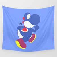 yoshi Wall Tapestries featuring Yoshi(Smash)Blue by ejgomez