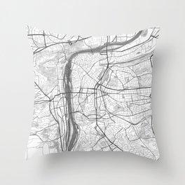 Prague Map, Hand-Drawn Map Throw Pillow