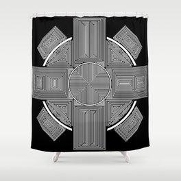 Clockwork Wheel Cross Shower Curtain