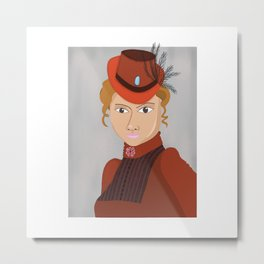 Lady in a Victorian Hat Metal Print