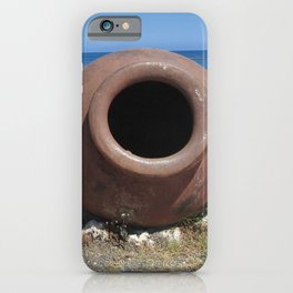 Traditional Greek Terracotta Pot on the Beach Design iPhone Case