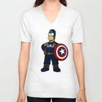 simpson V-neck T-shirts featuring Captain Simpson by Betmac