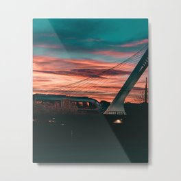 Sunset Train Street Photography Metal Print