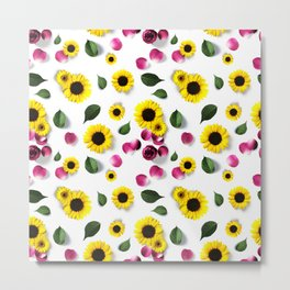 Cute Sunflower and Roses Floral Pattern Metal Print
