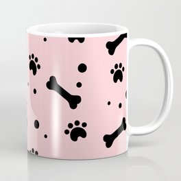 Black dog paw and bones pattern on pink background Coffee Mug