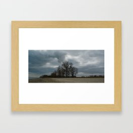 Steam Clouds Treeline Framed Art Print