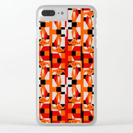 Geometric Dancing Foxes Clear iPhone Case