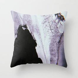 Slipping Away: an abstract mixed-media piece in black and white by Alyssa Hamilton Art Throw Pillow