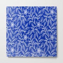 Vintage Lace Floral Sapphire Blue Metal Print