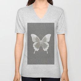 Butterfly on grunge surface Unisex V-Neck