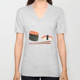 Watercolor Sushi Rolls And Chopsticks Unisex V-Neck