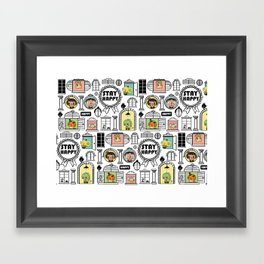 Pattern Stay Happy Animals Framed Art Print