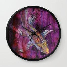 Aubergine Koi Wall Clock