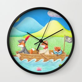 Pirate Foxes Wall Clock