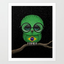 Baby Owl with Glasses and Brazilian Flag Art Print