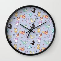 umbreon Wall Clocks featuring Eeveeloution Pattern by Sophie Eves