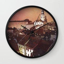 Castle rising above buildings of medieval village of Cesky Krumlov- Czech Republic Wall Clock