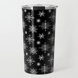 Winter in black and white - Snowflakes pattern Travel Mug