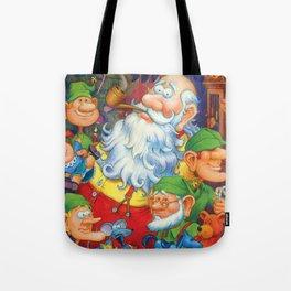 Santa & Elves in Workshop Tote Bag