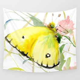 Soft Yellow Butterfly and Pink Flower, pink turquoise lemon yellow girls room art, design Wall Tapestry