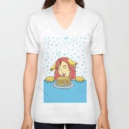 Cat Girl Pancakes Doodle  Unisex V-Neck
