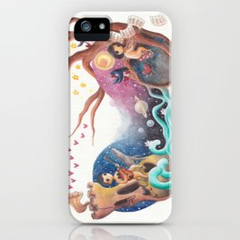 Boy with Guitar and Girl with Piano Playing Love Music Across the Galaxy iPhone Case