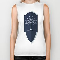 gondor Biker Tanks featuring Shield of Gondor by DWatson