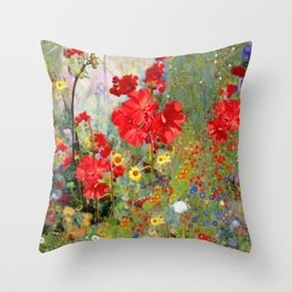 Red Geraniums in Spring Garden Landscape Painting Throw Pillow