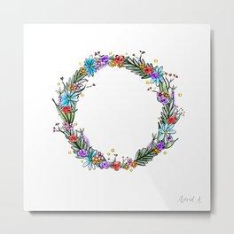 Summer flower wreath Metal Print