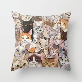 A lot of Cats Throw Pillow