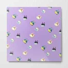 Animal Crossing Cats 1 - Purple Metal Print