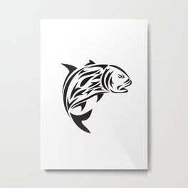 Giant Trevally Jumping Tribal Art Metal Print