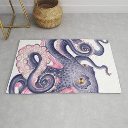 Purple Pink Octopus Kraken Marine Watercolor  Rug