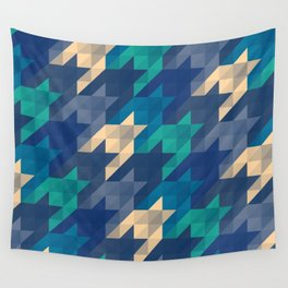 Origami houndstooth blues Wall Tapestry
