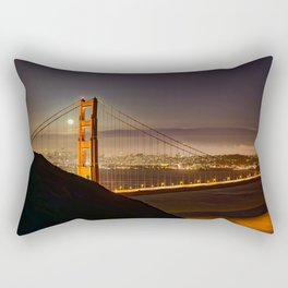 GOLDEN GATE BRIDGE & MOON PHOTO - SAN FRANCISCO NIGHT IMAGE - CALIFORNIA PICTURE - CITY PHOTOGRAPHY Rectangular Pillow
