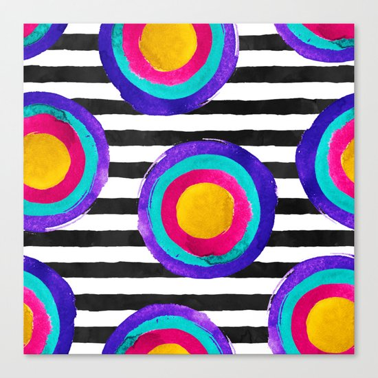 Watercolor stripes and circles Canvas Print